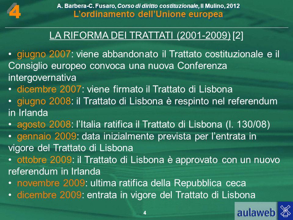 LA RIFORMA DEI TRATTATI (2001-2009) [2]
